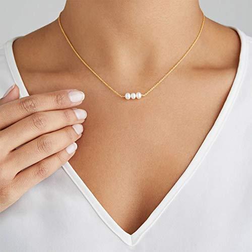 Yienate Collar de perlas de moda cadena simple de tres perlas cadena colgante collar accesorios de joyería para mujeres y niñas (oro)