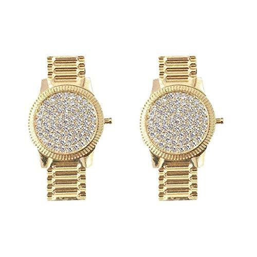 NAIXUE Pendientes de cristal de lujo de la forma del reloj de los cristales incrustados del reloj de las, Plata de ley,