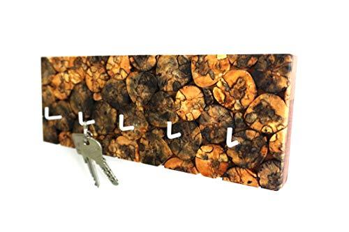 Schlüsselbrett aus Birke mit 5 Haken (handgemachtes Unikat)