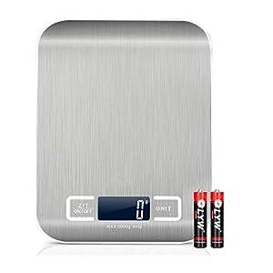 Delgeo Básculas de Cocina de Acero Inoxidable, Peso Cocina Digitalcon LCD Pantalla Electrónica,1 g a 5 kg, Multifuncional Balanza Cocina, 2 Baterías Incluidas, con Película Protectora Azul