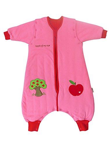 Schlummersack Schlafsack mit Füßen ganzjährig in 2.5 Tog mit abnehmbaren Ärmeln - Roter Apfel - 70 cm
