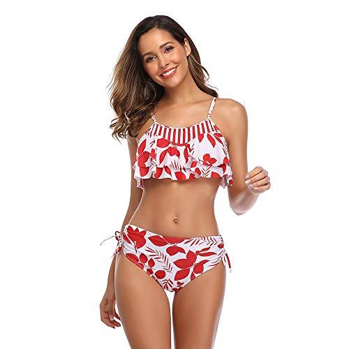 PLMOKN Traje de baño de Dos Piezas con Cuello Halter de Bikini de Cintura Alta para Mujer de Moda, la Mejor opción para la Playa de Verano, Piscina, Solarium.(S, Red Leaves)