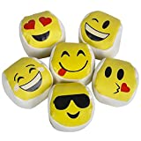 Srenta Assorted Styles Cute Emoji Kickball Hacky Sack Party Balls, Kick Balls, Foot Bags, Great Party Favor, Pack of 12