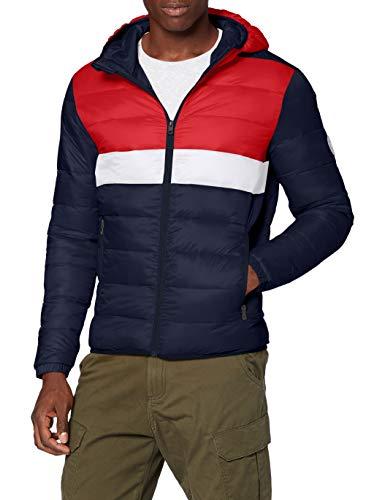 Jack & Jones JJEMAGIC Puffer Hood STS Jacket, Tango Red (Detail Blocking), M Homme