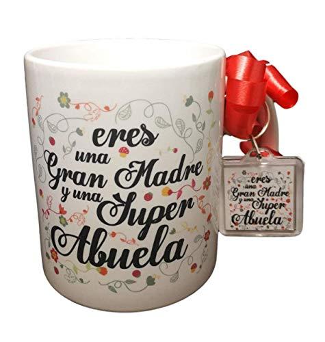Taza Frase Y Llavero Eres UNA Gran Madre Y UNA Super Abuela Regalo Abuela. Regalo Dia DE LA Madre. Taza Original