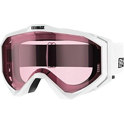 BLIZ Unisex– Erwachsene Edge Skibrille, 04 White - weiß/Scheibe - pink S1, mittelgroß