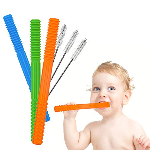 HATIKY Teething Tubes Soft Silicone Baby Teether ToysHelps Soothe Teething for Babies 06 / 612 Months  Durable Hollow Food Teethers for Infant and Toddlers3 Pack