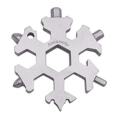 Amanely 18-in-1 Stainless Snowflake Multi-tool, Outdoor Portable Keychain screwdriver -Bottle opener (Silver)