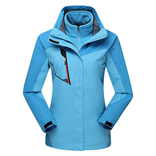 emansmoer Femme 3 en 1 Coupe-Vent Capuche Imperméable Outdoor Veste de Camping Randonnée Trekking Sport Manteau (XXX-Large, Bleu)