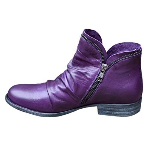 NYYY Scarpe da donna in stile romano retrò tinta unita con chiusura lampo laterale corta, tacco alto, scarpe casual, viola., 40 EU