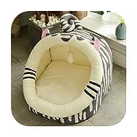 猫の家取り外し可能な猫のベッドの家犬小屋の巣ペットの巣くず犬のベッド小さな犬のためのクッションペット製品子猫ベッド-Cheese cat-M