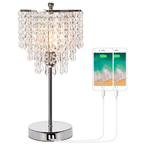 Touch Control Crystal Table Lamp with Dual USB Charging Ports, 3-Way Dimmable...