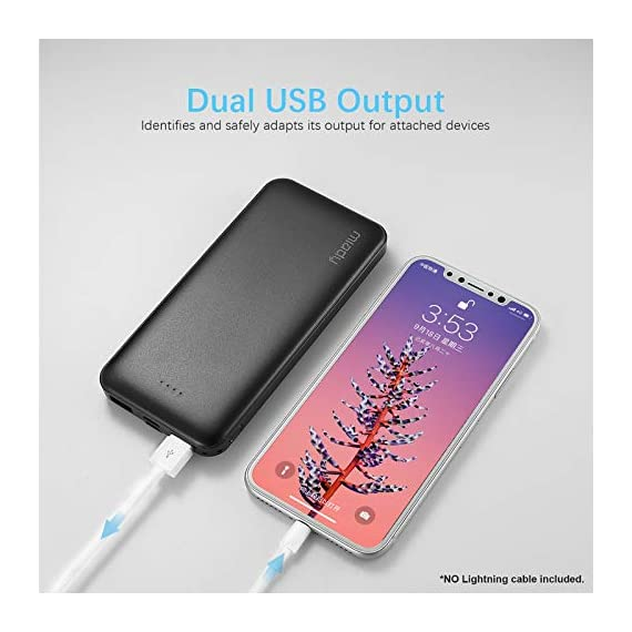 Miady 10000mAh Dual USB Portable Charger Power Bank 4 【3-Pack 10000mAh Power Bank】Three 10000mAh battery packs not only for portable charging but also around the home. Allowing you charge mobile devices without having to be tethered to a plug socket. Each of them fully charges 2.4 times for iPhone X, 3.6 times for iPhone 8 and 2.2 times for Samsung Galaxy S9. 【Dual Output & Input】Each has 2 USB output ports that detect all the connected devices and efficiently distributes the current output up to 5V 2.1A. The USB C and Micro USB ports can fully refill the battery itself in 5 hrs at 5V 2.0A. 【Reliable Li-polymer Cell】Thanks to the Li-polymer battery pack, the charger is much safer than any Li-ion charger. Also, it's lighter and slimer that you can easily carry it around, even on airplanes.
