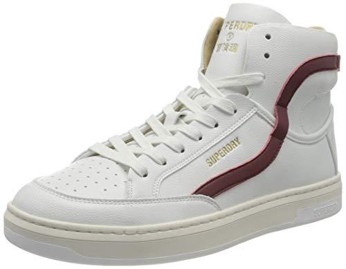Superdry Mens Basket Lux Trainer Sneaker, White/Oxblood,46 EU