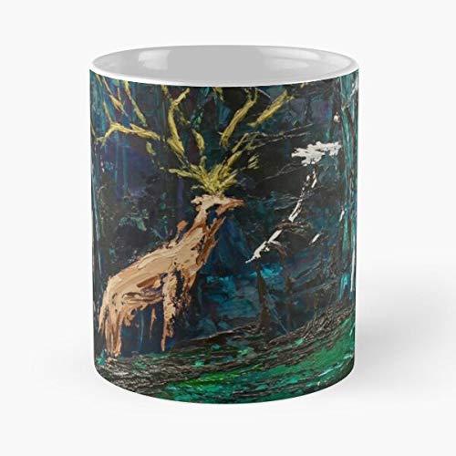 Moro Deer Mononoke Spirit Animation Forest Anime Wolf Miyazaki Princess – Taza de café de cerámica de mármol blanco I