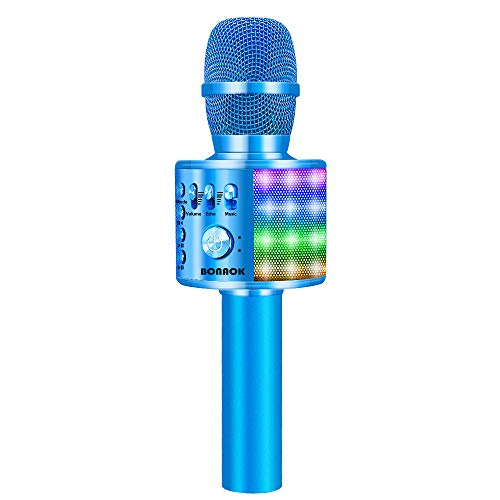 BONAOK Bluetooth Wireless Karaoke Microphone with LED Lights, 4 in 1 Portable Rechargeable Sing Mic Speaker for Android/iPhone/iPad/PC Kids Adults(Q37L BLUE)