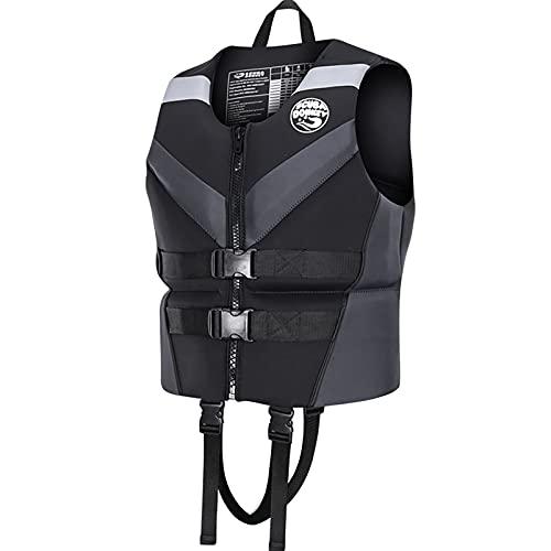 MYAOU Chaleco Salvavidas, Chaleco Salvavidas de Seguridad para Adultos/niños, Correa de Seguridad Ajustable Dispositivo de flotación Personal Chaqueta para Kayak Navegación Deportes acuáticos,Gris,S