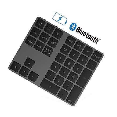 Rytaki Teclado numérico Bluetooth con múltiples accesos directos de 34 Teclas Teclado numérico Delgado inalámbrico portátil para iP ad/M ac/Laptop/PC Compatible con el Sistema Windows
