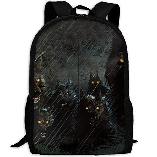 Printed Daypack,Satchel Backpack,Kids School Book Bags,Casual Shoulder Bag Bookbag,Gym Bags,Laptop Backpacks,Dark Storm Rain Halloween Werewolf Hellhound Animals Wolf Wolves Backpack College