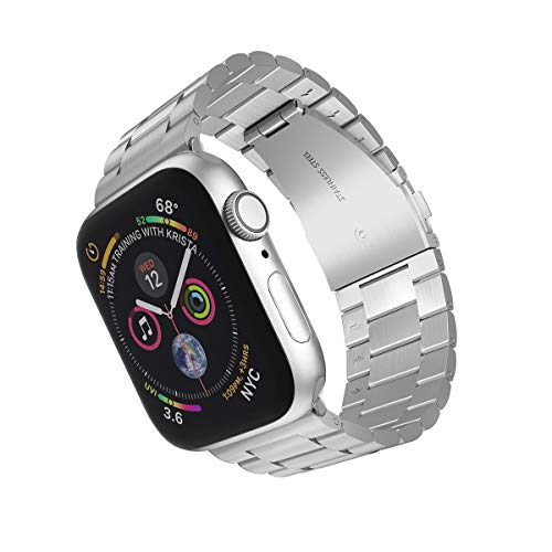 ARTCHE Upgraded Version 44mm 42mm Watch Strap for Apple Watch Stainless Steel Replacement Band Bracelet Adjustable Sports Wristband Belt, Compatible with iwatch Series 6/SE/5/4/3/2/1, Silver