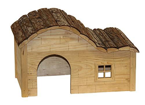 Kerbl Maison pour Rongeurs avec Toit Galbé Nature 30x20x20 cm