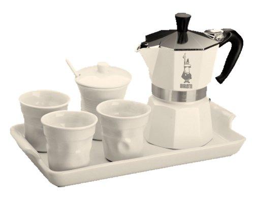 Bialetti Set moka Express da 3 tazze, con 3 tazzine da caffè, zuccheriera, 1 cucchiaino e vassoio, colore: Bianco laccato