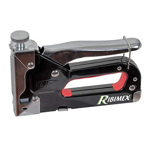 Ribimex PRAGRAM Graffatrice Manuale in Set con Chiodi e Punti Metallici, Nero e Rosso