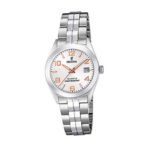 Festina Damen Analog Quarz Uhr mit Edelstahl Armband F20438/4