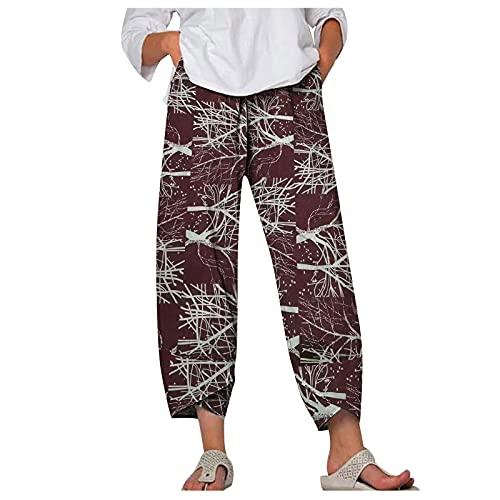 Liably Pantalones de mujer de algodón y lino, anchos, multicolor, con estampado de flash. Pantalones de playa, cintura alta, elegantes, para jogging y adolescentes. Vino M