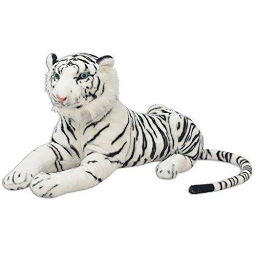 vidaXL Tigre de Peluche Gigante Blanco XXL Animal Blandito