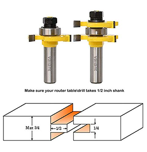 Valiant Tongue & Groove Router Bit Set With Adjustable 1/2 Inch Shank - 2 T Shape Wood Milling Cutters For Professional & Beginner Carpenters - Woodworking Tools For Doors, Drawers, Shelves & More