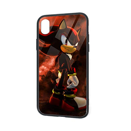 Tempered Glass Back iPhone XR Cases, Soft TPU Raised Edge Fashion Bumper, Shock Absorption Anti-Finger Slim Protective Case Cover for iPhone XR, Shadow The Hedgehog