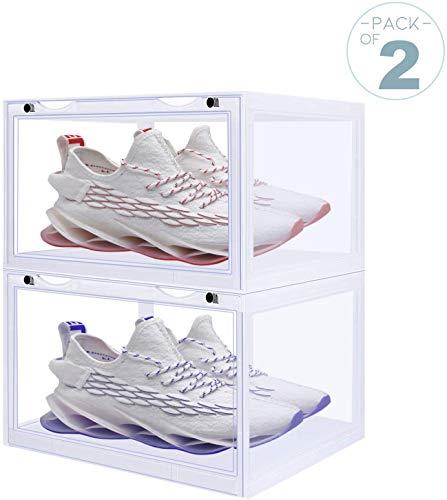 LOMOFI 2 cajas para zapatos, espesas, contenedores para zapatos apilables con puerta, cajas para zapatos de plástico plegable, cajas para zapatos de plástico para mujer y hombre