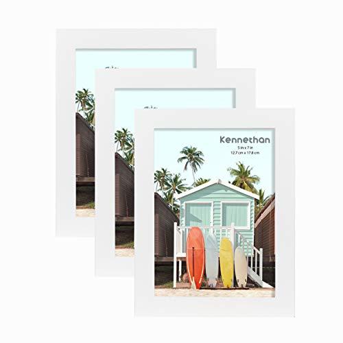 Kennethan Lot de 3 cadres photo 100 % bois véritable blanc 13 x 18 cm avec verre acrylique à suspendre et à poser.