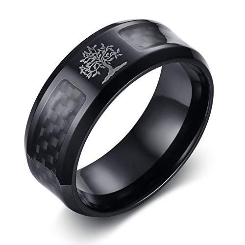 Oidea Anello Uomo Albero della Vita Fidanzamento Promessa Acciaio inossidabile Fibra di Carbonio Nero