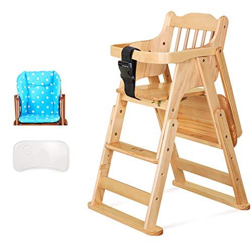 Chaise Haute en Bois pour BéBé Toddler Kids Chaise Haute en Bois pour Nourrir Le SièGe à La Maison Et Les Restaurants, HôTel, Couleur De Vernis