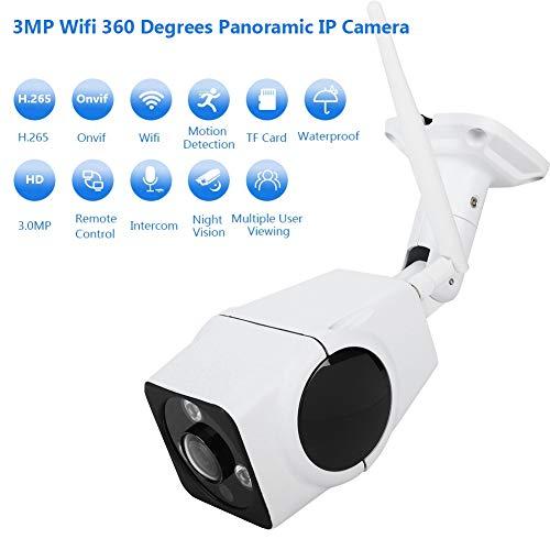 Garsent bewakingscamera's, 3MP WiFi 3D VR-waterdichte IP-buitencamera met 360 graden fisheye-ondersteuning, 2-weg audio, nachtzicht, bewegingsdetectie, app-besturing voor Android/iOS.