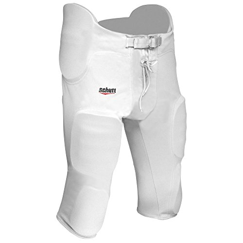 ADAMS USA Varsity Pro-Sheen Gameday Football Pant with Integrated Pads, White, Small