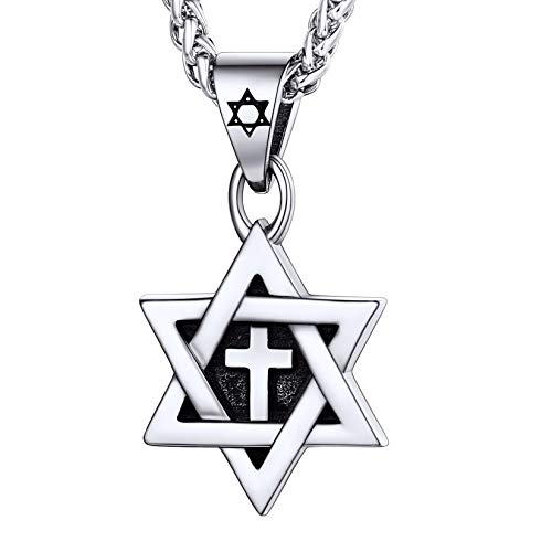 Men Boys Cross Star of David Pendant with 22 Inch Rope Chain Stainless Steel Vintage Enamel Black Jewish Jewelry Israel Necklace