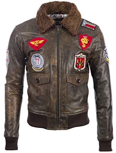 Aviatrix Chaqueta de Bombardero de Vuelo de Piloto de Efecto Vintage de Cuero Real para Hombre con Insignias (TM72)