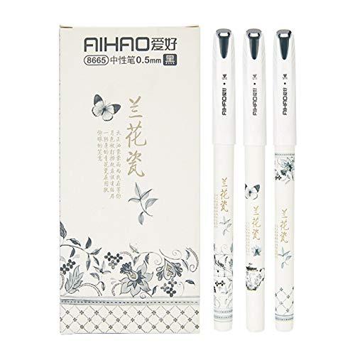 Gelschreiber mit schwarzer Tinte, Kugelschreiber, feine Spitze, Tintenroller, glattes Schreiben, Stifte für Büro, Heimarbeit, 0,5 mm feine Spitze, Porzellan-Muster (12er-Pack)