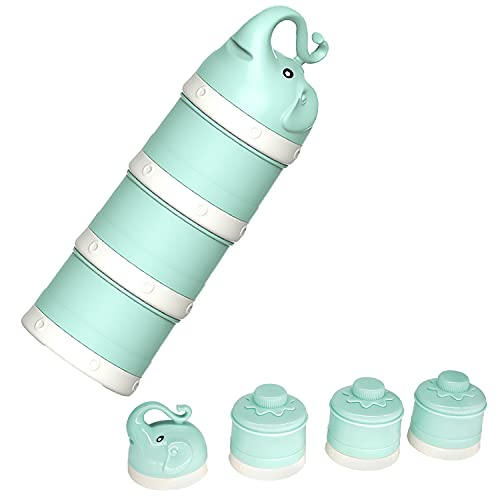 Baby Milk Powder Formula Dispenser, Stackable Formula Dispenser Container Mixie Bottle for Travel, Large Capacity Formula Holder and Snack Storage, Non-Spill, Powder Leakage Free, BPA Free (Green)