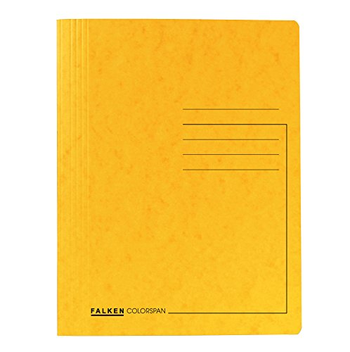 Original Falken Premium Spiralhefter. Made in Germany. Aus extra starkem Colorspan-Karton für DIN A4 kaufmännische Heftung gelb Hefter Dokumentenmappe ideal für das Büro und die Schule