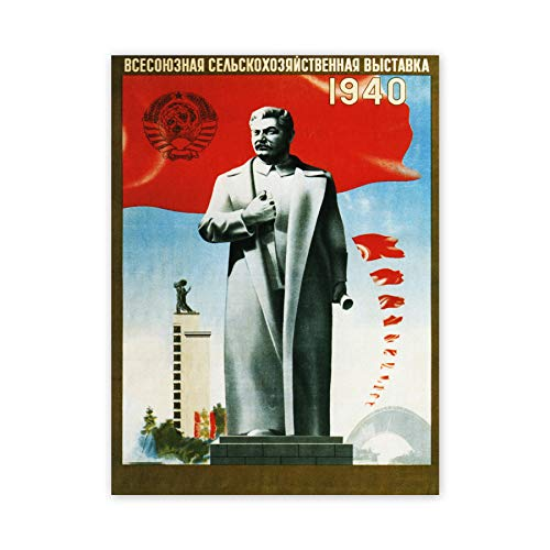 Agriculture Soviet Union Stalin Red Flag Statue Uncle Joe Russia Poster Print