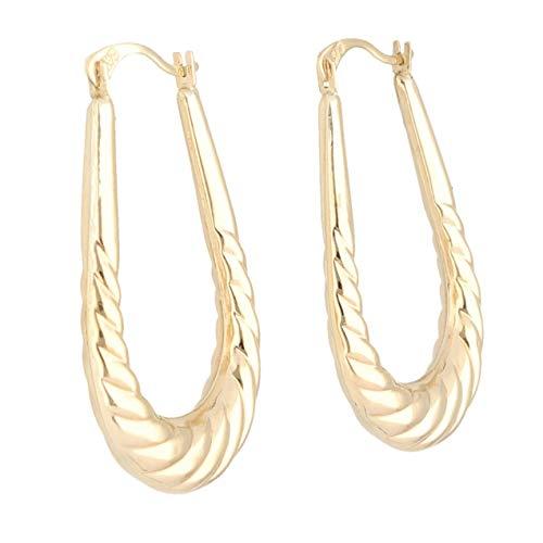 Jollys Jewellers - Pendientes de aro para mujer (oro amarillo de 9 quilates, 17 x 25 mm)