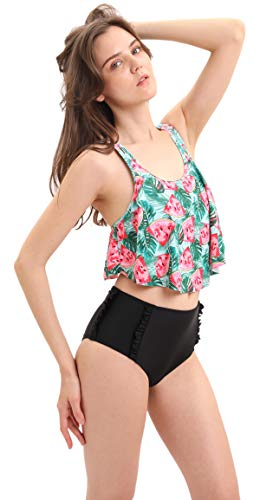 SOL Y PLAYA - Conjunto Bikini Estilo Bikini 2 Pieza diseño Volante Moderno estiliza Figura para Chica Mujer señora Bikini Mujer