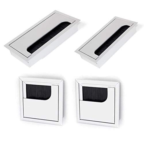 Ojal de Escritorio,CHENKEE 4 pzs Tapa Pasacables Mesa Escritorio Pasacables para Escritorio Plata de Aleación de aluminio para Muebles de Oficina Mesa Escritorio