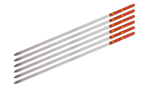 CHEFTOR Premium Stainless Steel Wooden Handle BBQ Skewers for Shish Kebab, Turkish Grills & Koubideh, Brazilian-Style BBQ, 23 Inch x 1/2 Inch, Set of 6