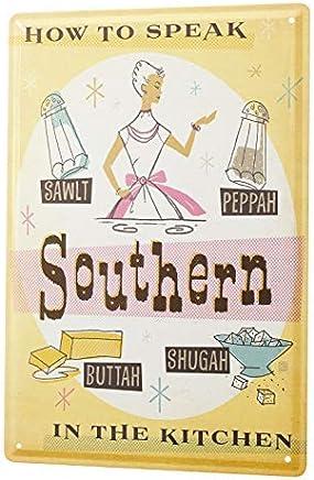"Bestauseller Tin Sign XXL Fun Ravtive Southern Dialect Pronunciation Kitchen Salt Pepper Butter Sugar 12""X8""(20x30cm)"