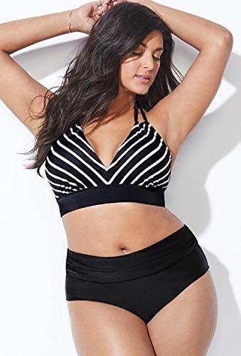 GREQ Bikini-Sets für Damen Neuer Bikini-Badeanzug in Übergröße Plus Fett zur Erhöhung der Bikini-Schwarz-Weiß-Streifen für Dicke Frauen_XL
